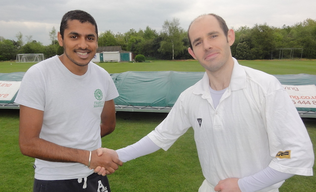 Elf skipper Dave Preece and Raj, skipper of Sportsman, at the toss. Dave Preece later flounced.