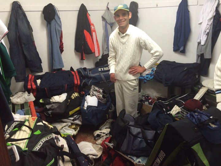 Anybody seen my gloves? JP struggles in the world's most crowded changing room.